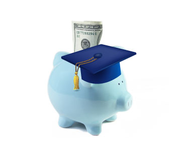 Piggy Bank with graduation cap and money image