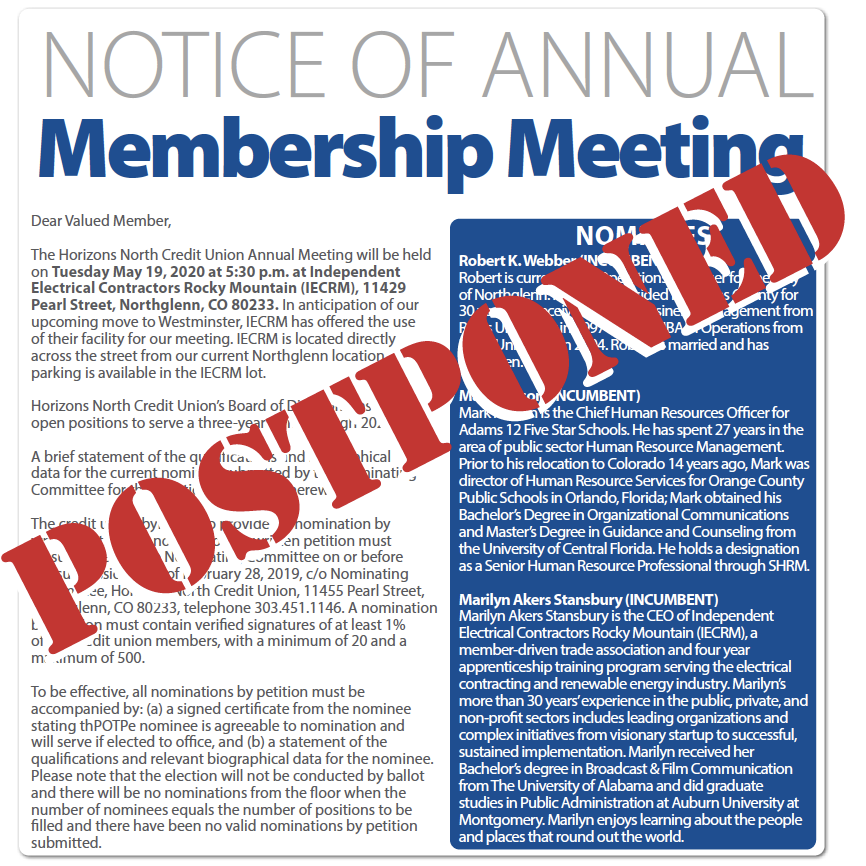 Image for postponed Annual Meeting.